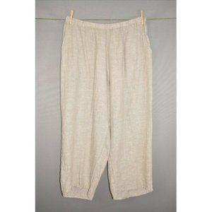 FLAX Pull-On Cropped Linen Pant